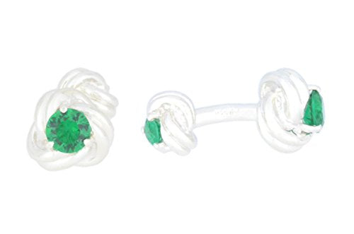 2.5 Ct Created Emerald Knot Cufflinks .925 Sterling Silver Rhodium Finish