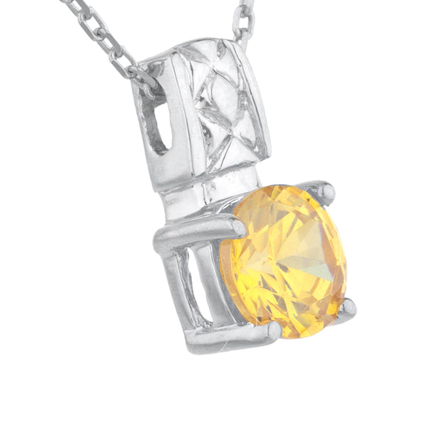 1 Ct Yellow Citrine Round Design Pendant .925 Sterling Silver