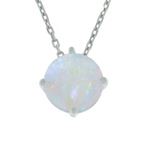 14Kt Gold Genuine Opal Round Pendant Necklace