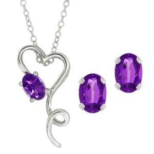 2.5 Ct Amethyst Oval Heart Stud Earrings & Pendant .925 Sterling Silver Rhodi...