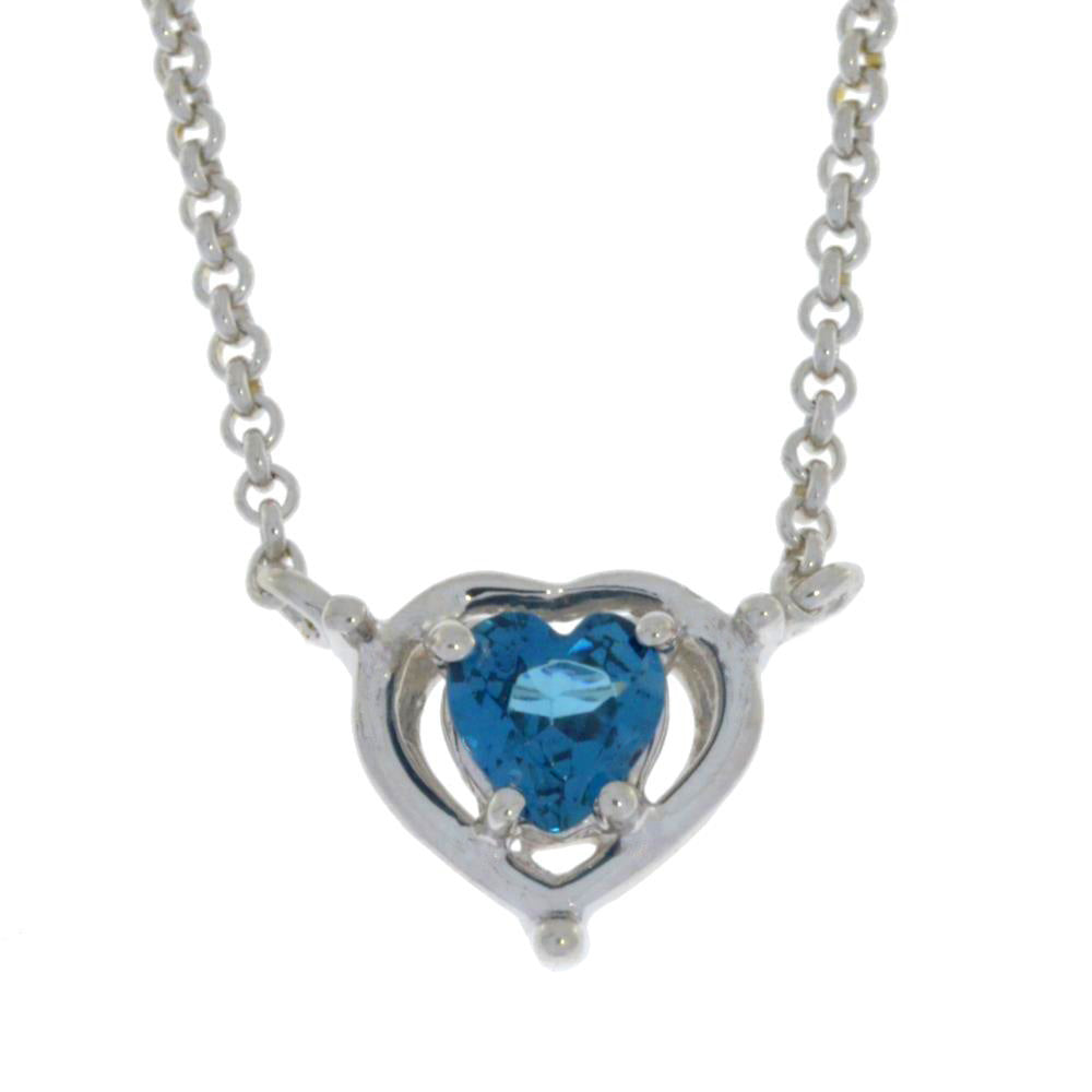 0.50 Ct London Blue Topaz Heart Pendant .925 Sterling Silver
