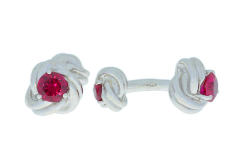 2.5 Ct Ruby Knot Cufflinks Rhodium Plated