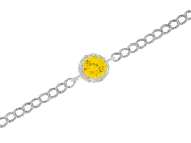 1 Ct Citrine & Diamond Round Bracelet .925 Sterling Silver