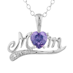 0.50 Ct Amethyst & Diamond Heart Mom Pendant .925 Sterling Silver