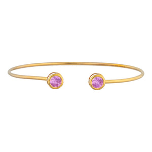 14Kt Yellow Gold Plated Pink Sapphire Round Bezel Bangle Bracelet