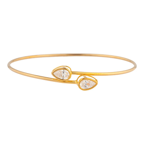 14Kt Gold White Sapphire Pear Bezel Bangle Bracelet