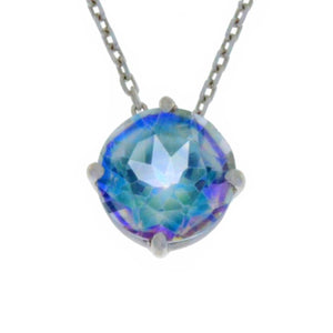 14Kt Gold Natural Blue Mystic Topaz Round Pendant Necklace