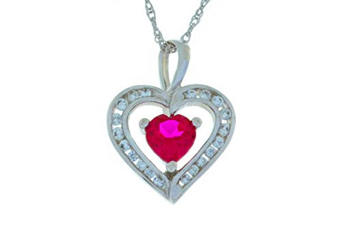 1 Ct Ruby & Zirconia Heart Pendant .925 Sterling Silver Rhodium Finish