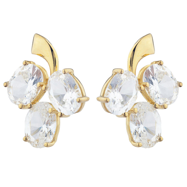 14Kt Yellow Gold Plated Zirconia Oval Design Stud Earrings
