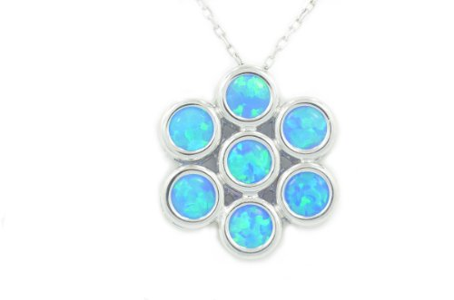 Blue Opal Round Bezel Pendant .925 Sterling Silver Rhodium Finish