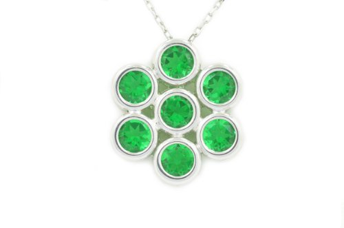 2 Ct Created Emerald Round Bezel Pendant .925 Sterling Silver Rhodium Finish