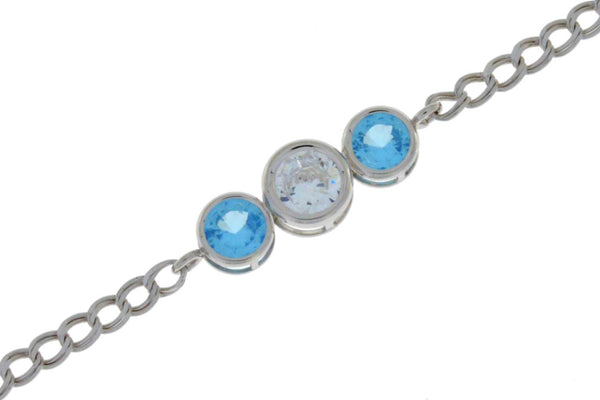 2 Ct Blue Topaz & Zirconia Round Bezel Bracelet .925 Sterling Silver Rhodium Finish
