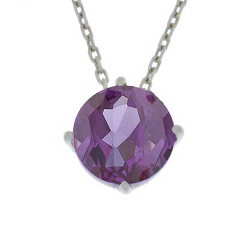 14Kt Gold Alexandrite Round Pendant Necklace