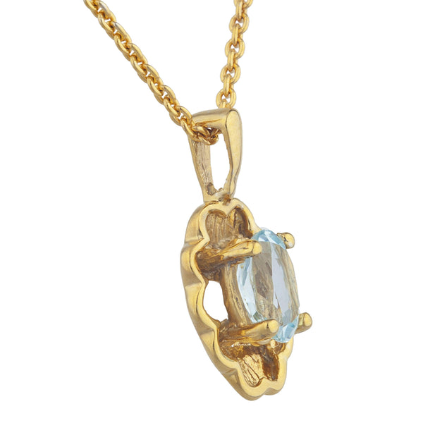 14Kt Yellow Gold Plated Genuine Aquamarine Oval Design Pendant