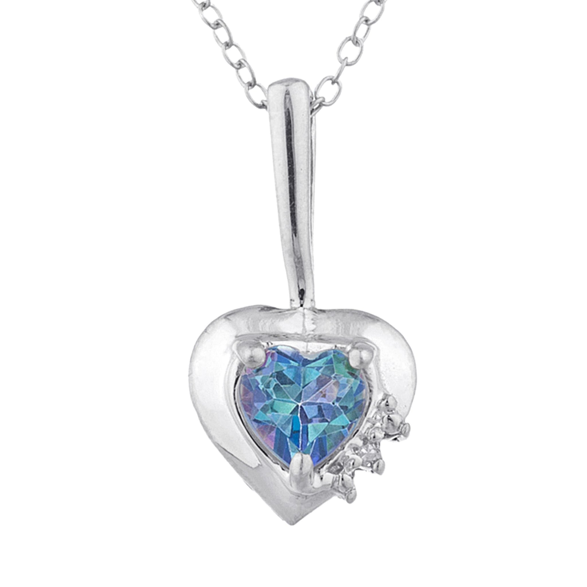 Natural Blue Mystic Topaz & Diamond Heart Pendant .925 Sterling Silver
