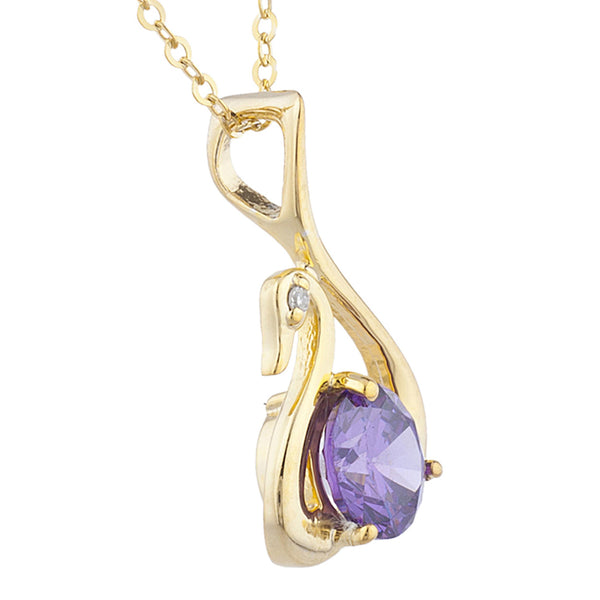 14Kt Yellow Gold Plated Alexandrite & Diamond Swan Pendant