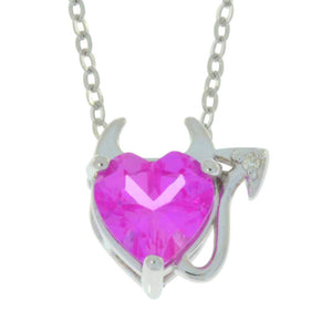 1.5 Ct Pink Sapphire & Diamond Devil Heart Pendant .925 Sterling Silver