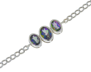 3.5 Ct Mystic Topaz Oval Bezel Bracelet .925 Sterling Silver Rhodium Finish