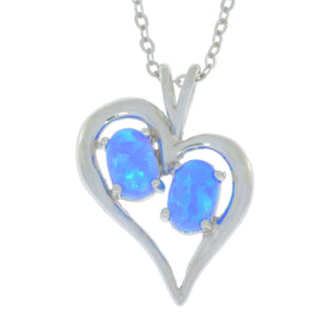 Blue Opal Oval Heart Pendant .925 Sterling Silver