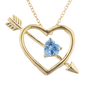 14Kt Yellow Gold Plated Blue Topaz Heart Bow & Arrow Pendant