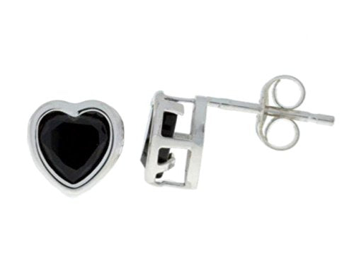 14Kt White Gold Genuine Black Onyx Heart Bezel Stud Earrings