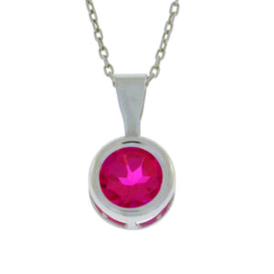 1 Ct Ruby Round Bezel Pendant .925 Sterling Silver Rhodium Finish