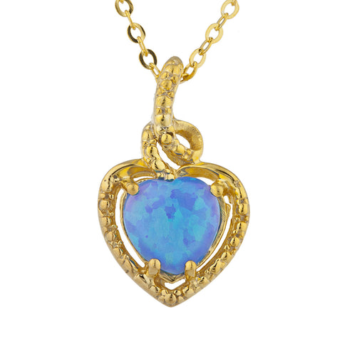 14Kt Gold Blue Opal Heart Design Pendant Necklace