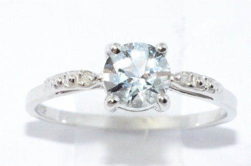 1 Ct Genuine Aquamarine & Diamond Round Ring .925 Sterling Silver Rhodium Finish