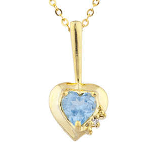 14Kt Gold Aquamarine & Diamond Heart Design Pendant Necklace