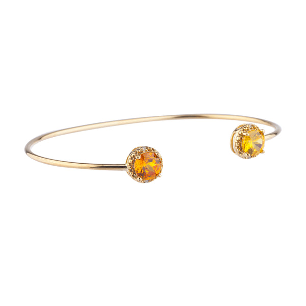 Orange Citrine & Yellow Citrine Diamond Bangle Round Bracelet 14Kt Yellow Gold Plated Over .925 Sterling Silver