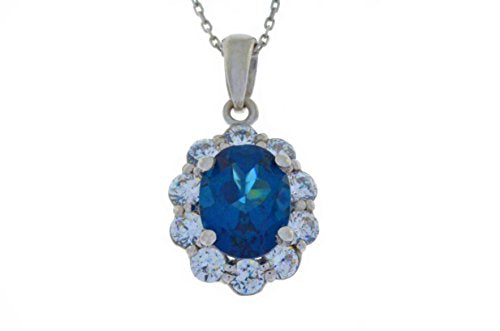 4 Ct London Blue Topaz & White Topaz Oval Pendant .925 Sterling Silver Rhodium Finish