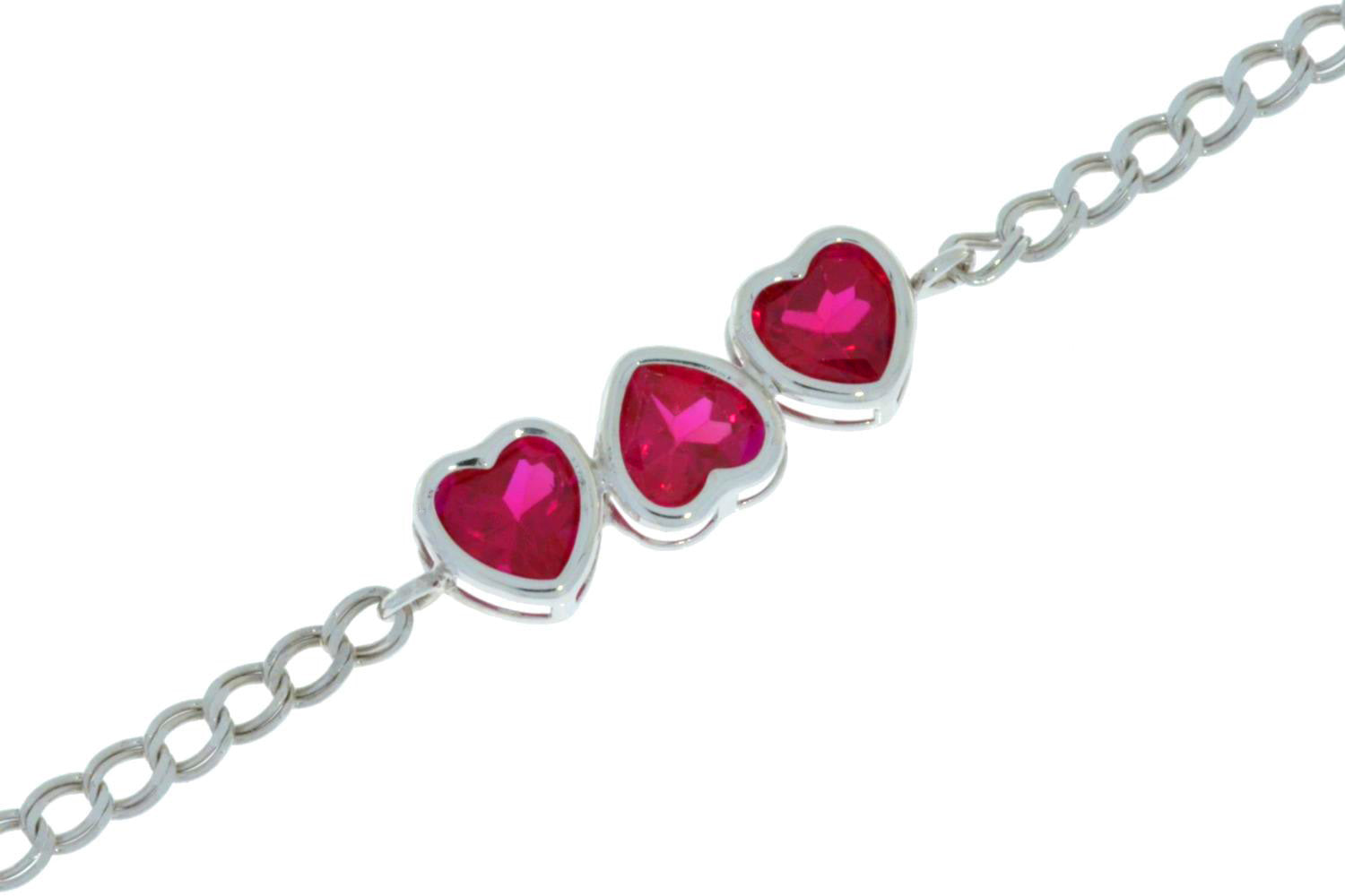 3 Ct Ruby Heart Bezel Bracelet .925 Sterling Silver