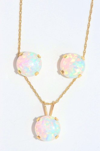 14Kt Yellow Gold Opal Stud Earrings & Pendant Set