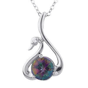 Natural Mystic Topaz & Diamond Swan Pendant .925 Sterling Silver
