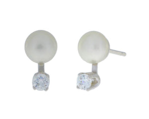 3mm Zirconia & White Pearl Stud Earrings .925 Sterling Silver