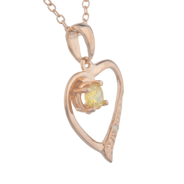 14Kt Rose Gold Plated Yellow Citrine & Diamond Heart Pendant