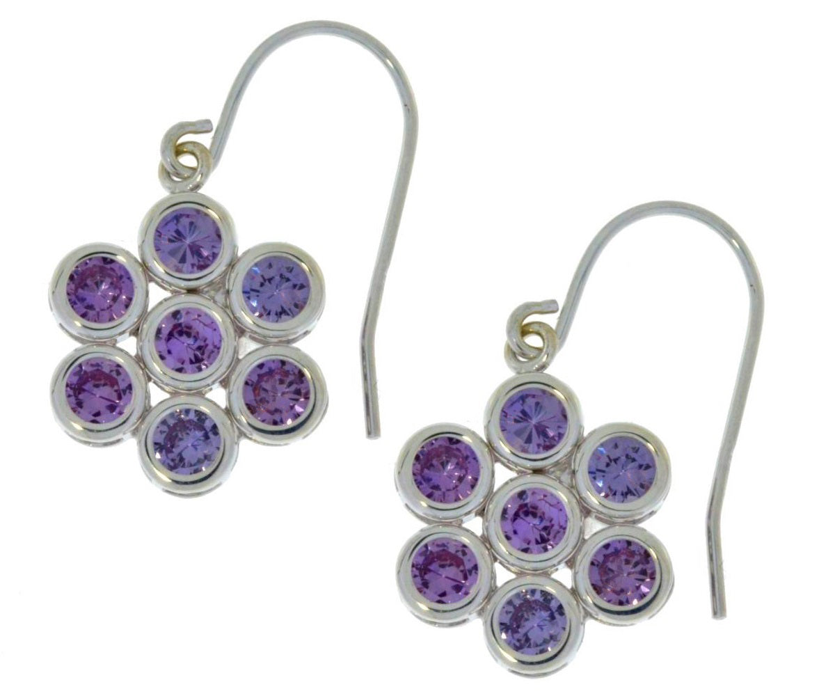 3.5 Ct Alexandrite Round Bezel Dangle Earrings .925 Sterling Silver