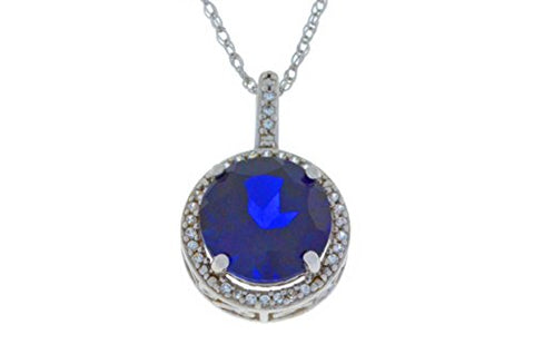 3.5 Carat Blue Sapphire & White Sapphire Round Pendant .925 Sterling Silver