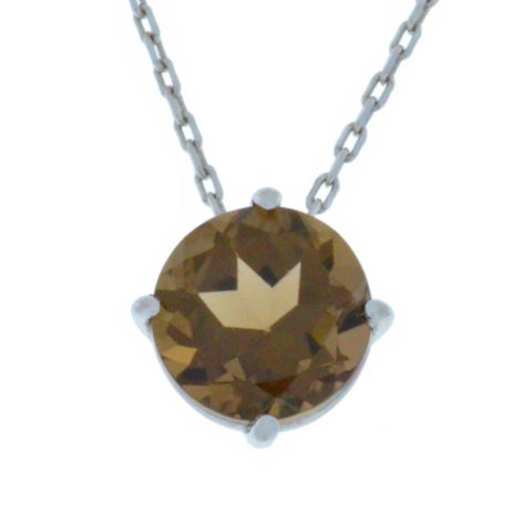 14Kt Gold Genuine Smoky Topaz Round Pendant Necklace