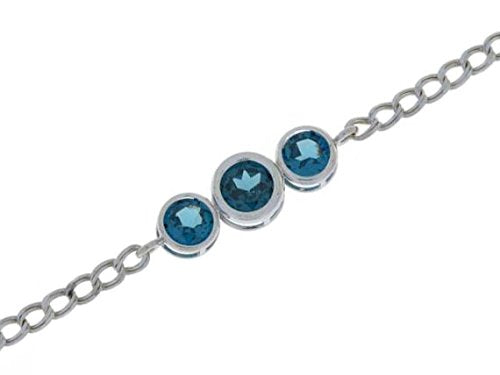2 Ct London Blue Topaz Round Bezel Bracelet .925 Sterling Silver Rhodium Finish