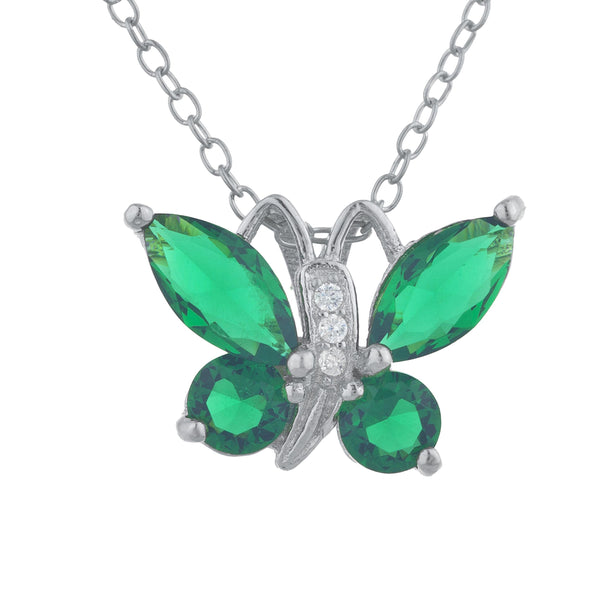 Emerald Butterfly Pendant .925 Sterling Silver