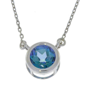 2 Ct Blue Mystic Topaz Round Bezel Pendant .925 Sterling Silver Rhodium Finish