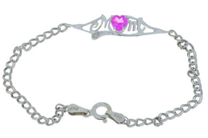 0.50 Ct Pink Sapphire & Diamond Heart Mom Bracelet .925 Sterling Silver