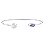 Genuine Aquamarine Heart & Alexandrite Pear Bezel Bangle Bracelet .925 Sterling Silver Rhodium Finish