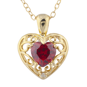 14Kt Yellow Gold Plated Garnet & Diamond Love Design Heart Pendant
