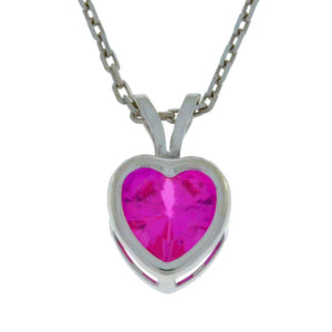 1 Ct Pink Sapphire Heart Bezel Pendant .925 Sterling Silver Rhodium Finish