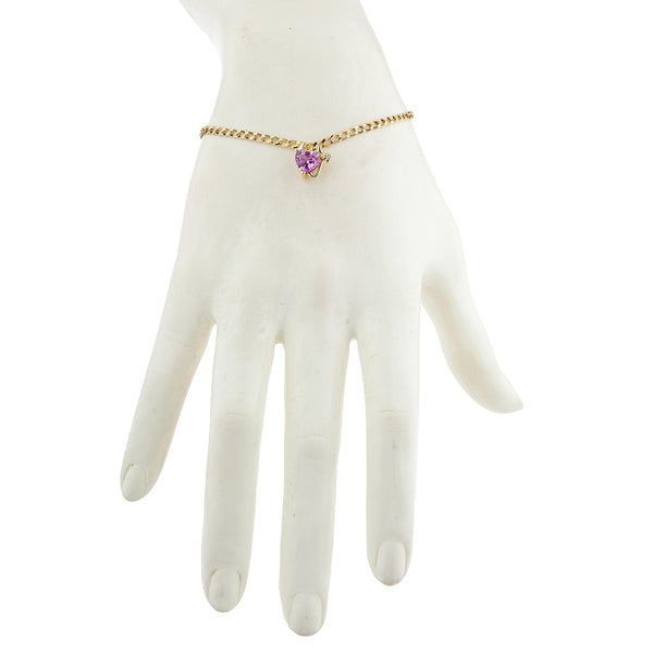 14Kt Yellow Gold Plated Pink Sapphire & Diamond Devil Heart Bracelet
