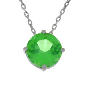 14Kt Gold Green Sapphire Round Pendant Necklace