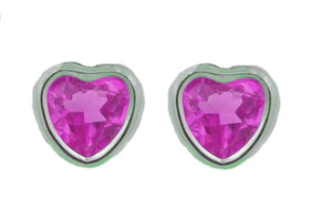 14Kt White Gold Pink Sapphire Heart Bezel Stud Earrings