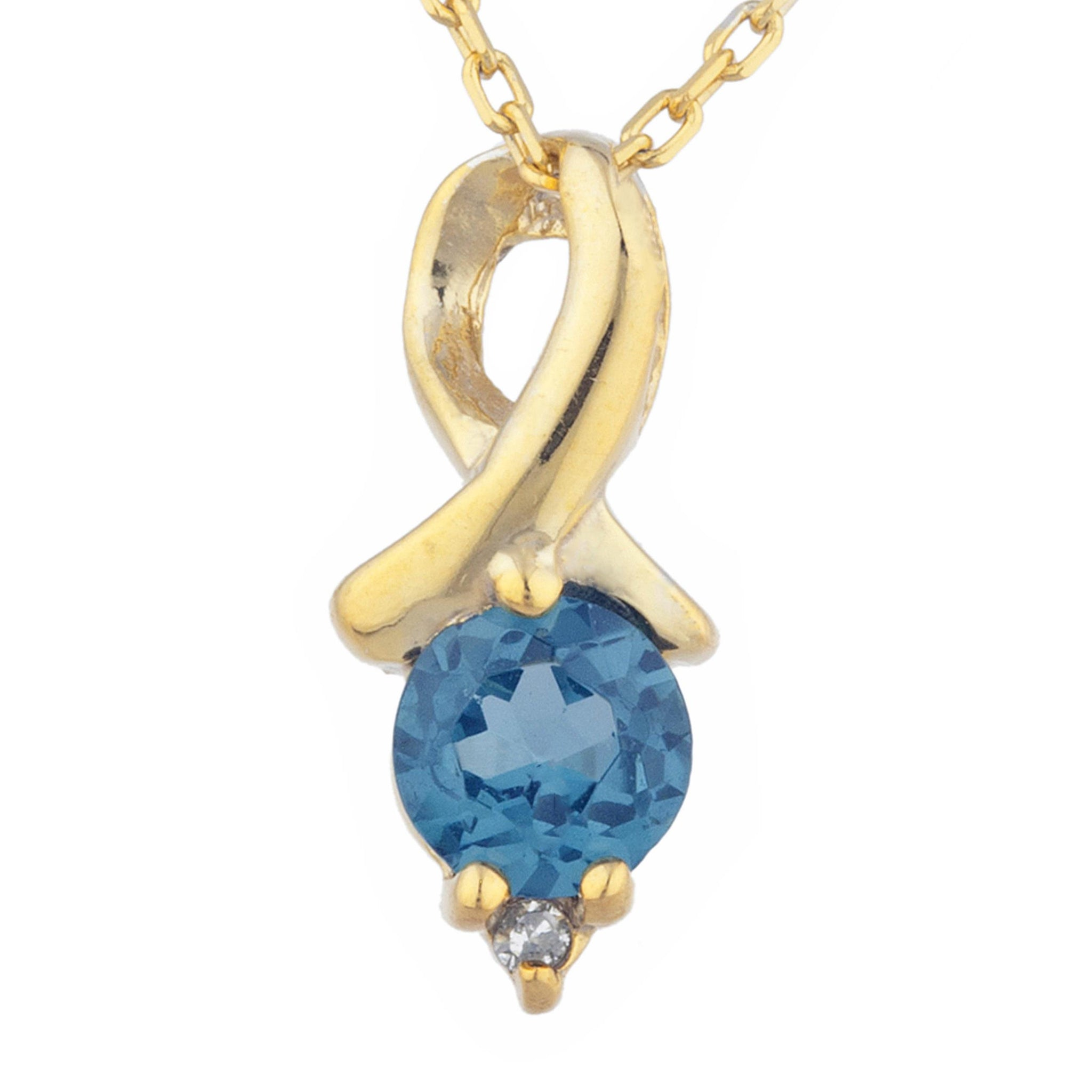 14Kt Yellow Gold Plated London Blue Topaz & Diamond Round Design Pendant